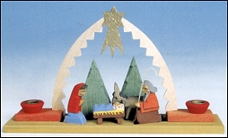 NATIVITY SCENE WITH BOW ARCH TREES & CANDLES ON BASE-NEW