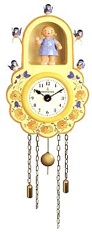 Wall Clock Yellow With Girl And Birds – 5.6″