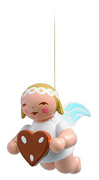 Suspended Angel With Gingerbread Heart – 1.0″