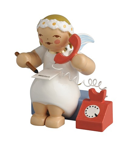 Snowflake Angel Sitting With Telephone – 1.5″
