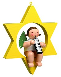 Angel With Melodica In Star – 3.25″