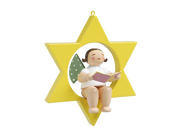 Christmas Tree Angel With Songbook In Star – 2.75″