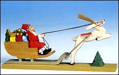 SANTA CHRISTMAS SLEIGH WITH TOYS AND REINDEER