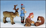 Lapplander Couple With Child And Reindeer Four Piece