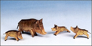 A Group Of Wild Boars – Four Pieces