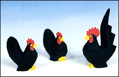 Chabo Chickens Black Three Pieces