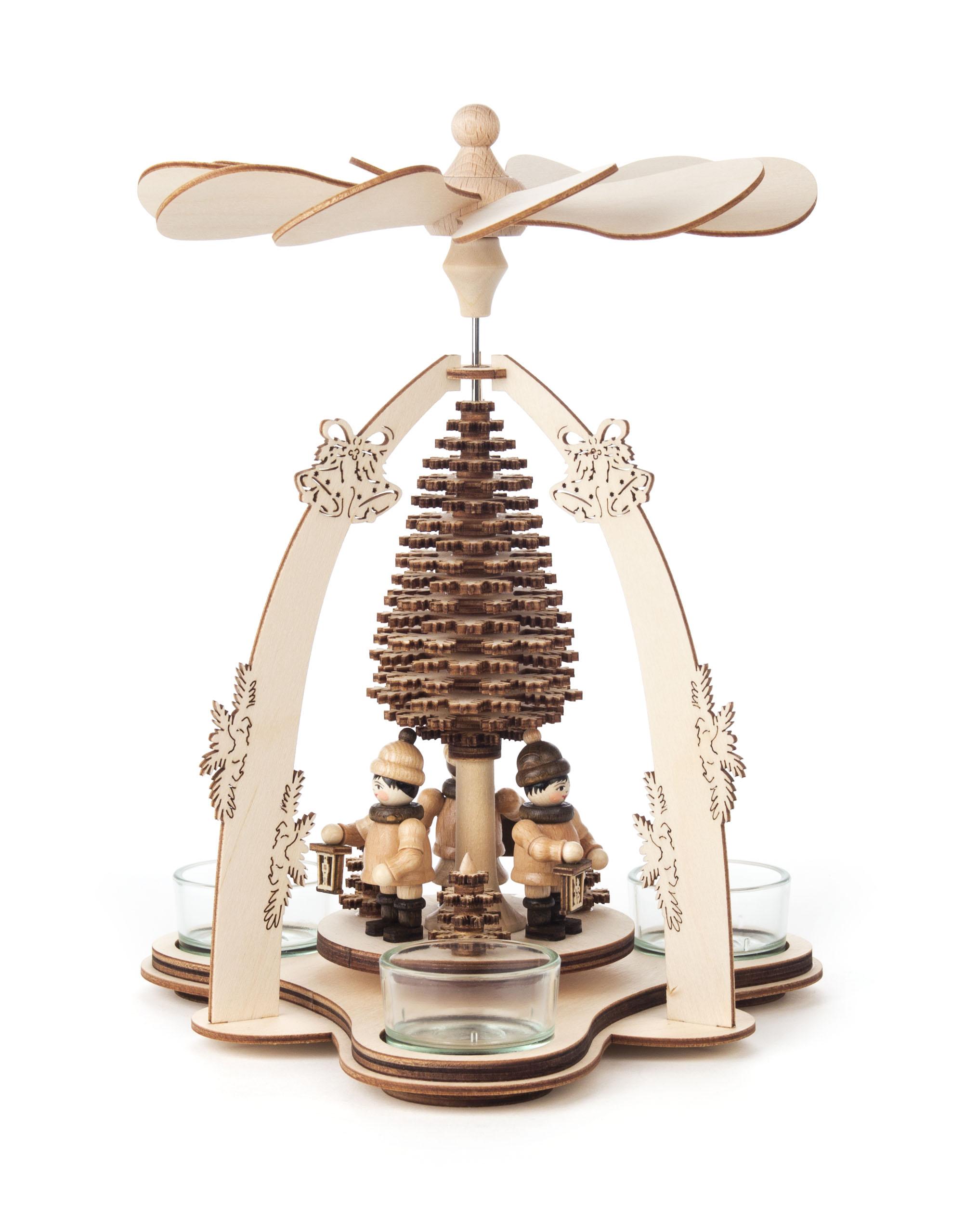 Dregeno Lantern Children, w/Carved Tree, for T-Lights – 9.75″