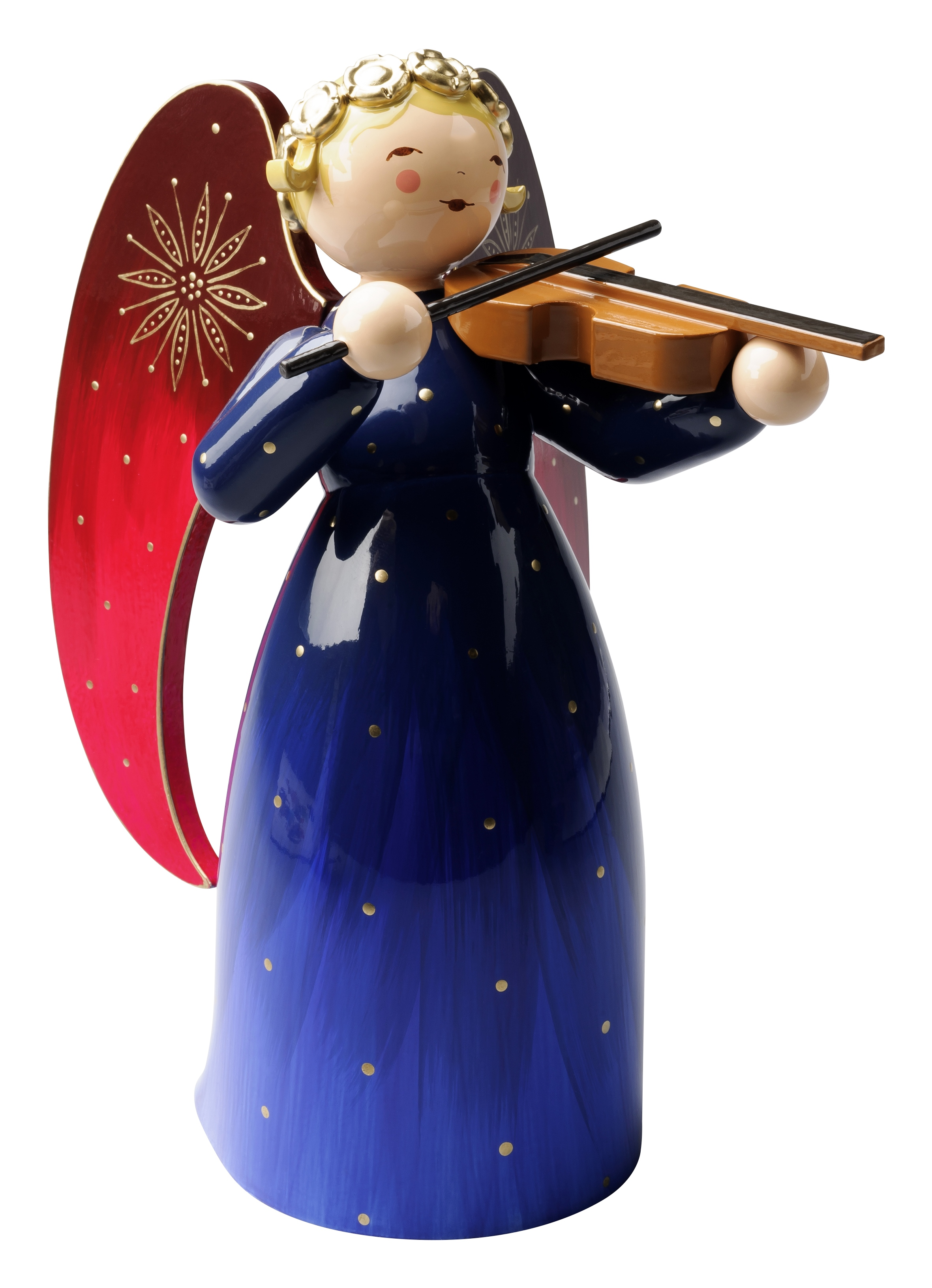 Richly Painted Angel with Violin, Blue, Very Large – 6.5″