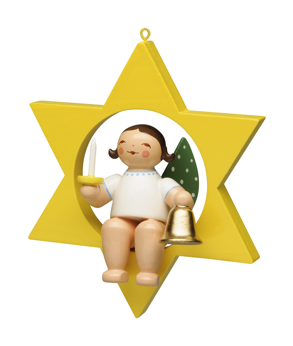 Christmas Tree Angel with Bell & Candle in Star – 2.75″