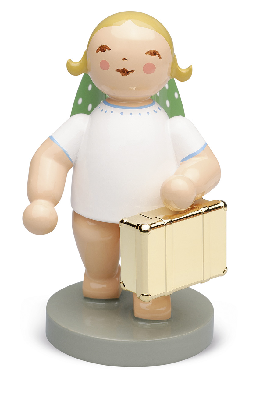 Globetrotter Angel with Gold-Plated Suitcase – 2.5″