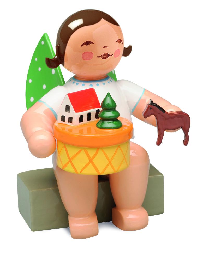 Angel in Toy Village, Sitting – 2.0″—Brunette