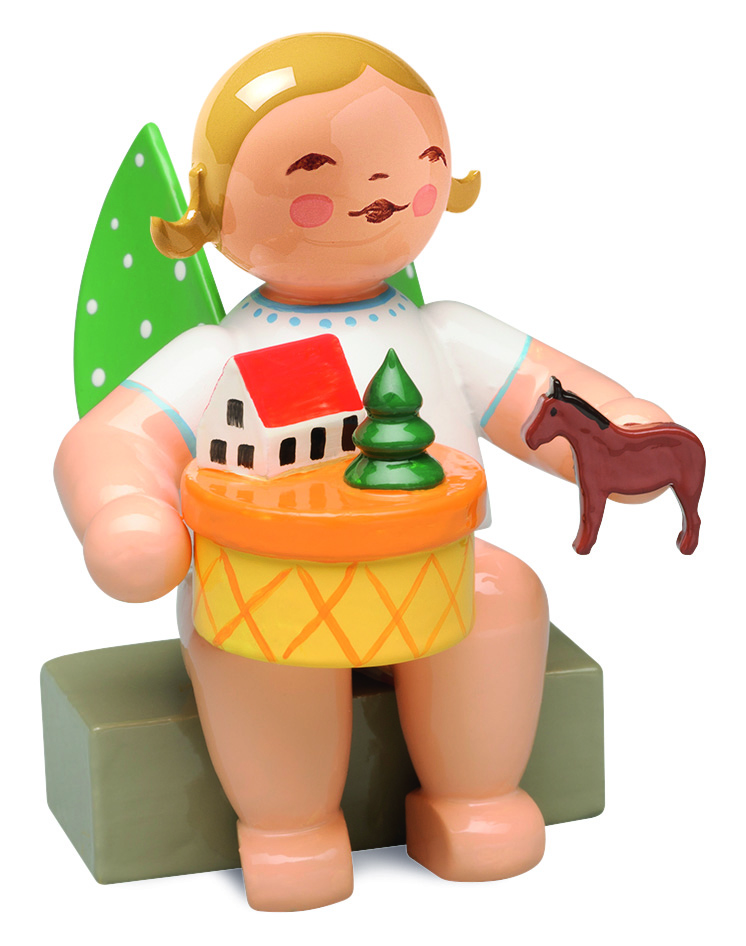 Angel in Toy Village, Sitting – 2.0″—Blond