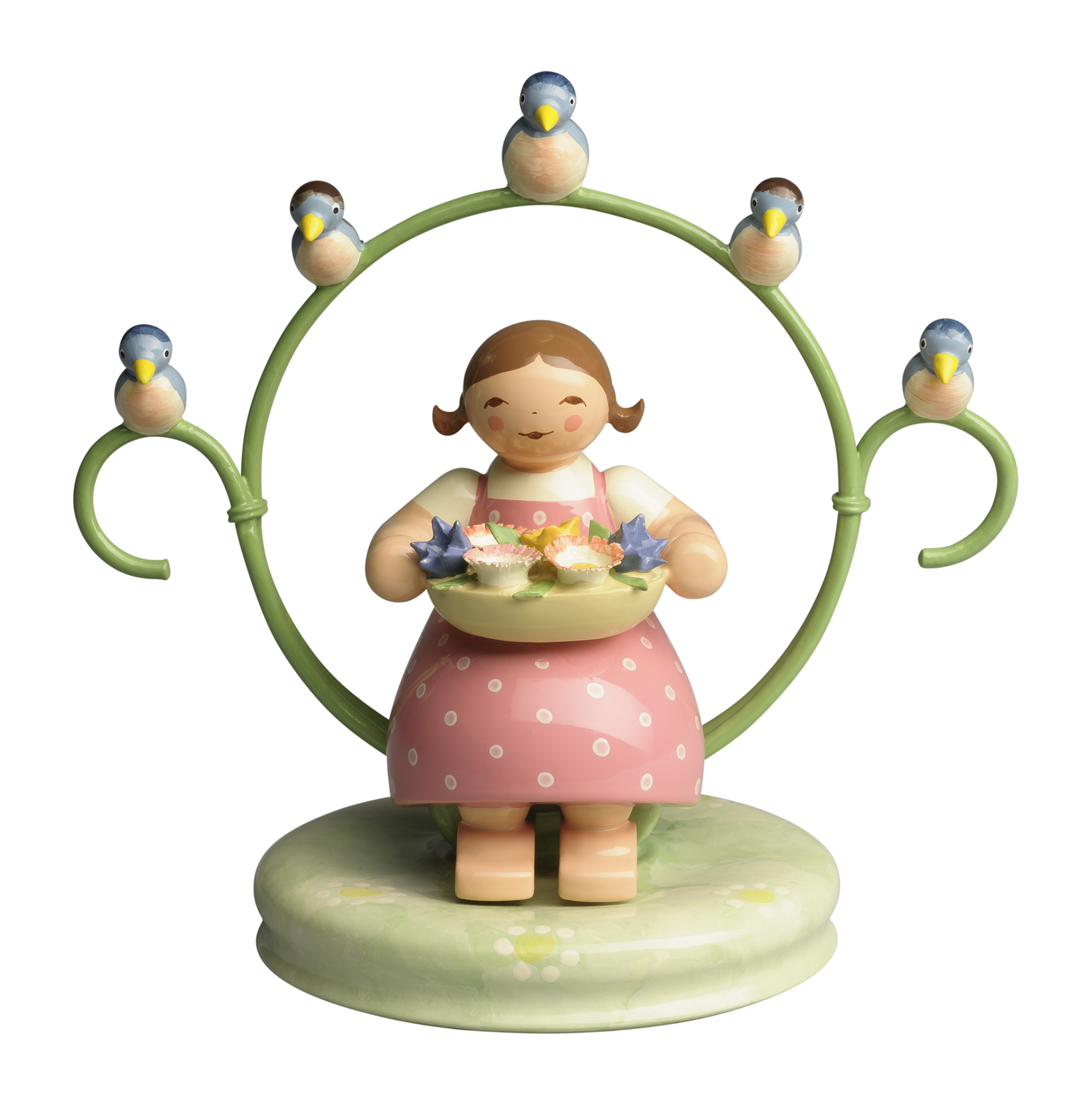 Girl in Hoop, with Bowl of Flowers and Bird – 3.5″