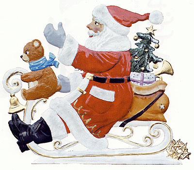 Sledding Santa – 3 1/4 x 3″