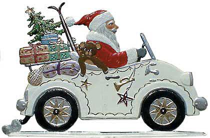 Santa in Auto – 4 3/4 x 3″