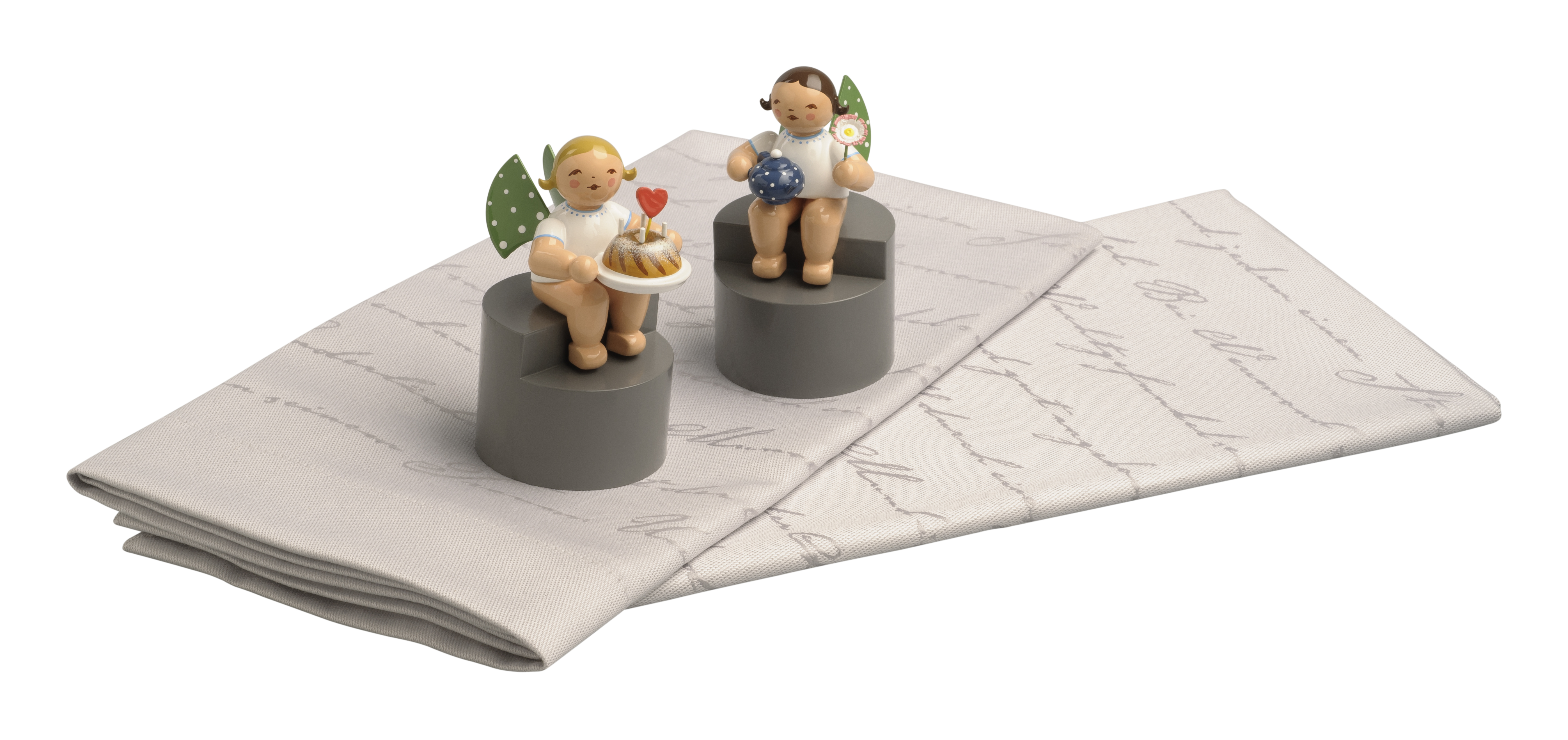 Angels on Pedestals, w/Pot & Flower and Cake & Heart – 3.0″, 1 Pair
