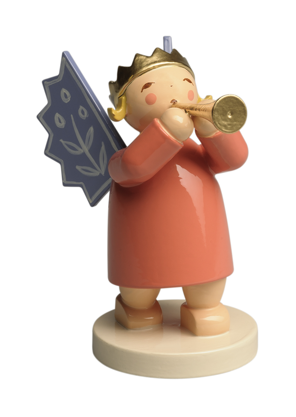 Angel Wearing Crown, with Small Trumpet – 2.5″