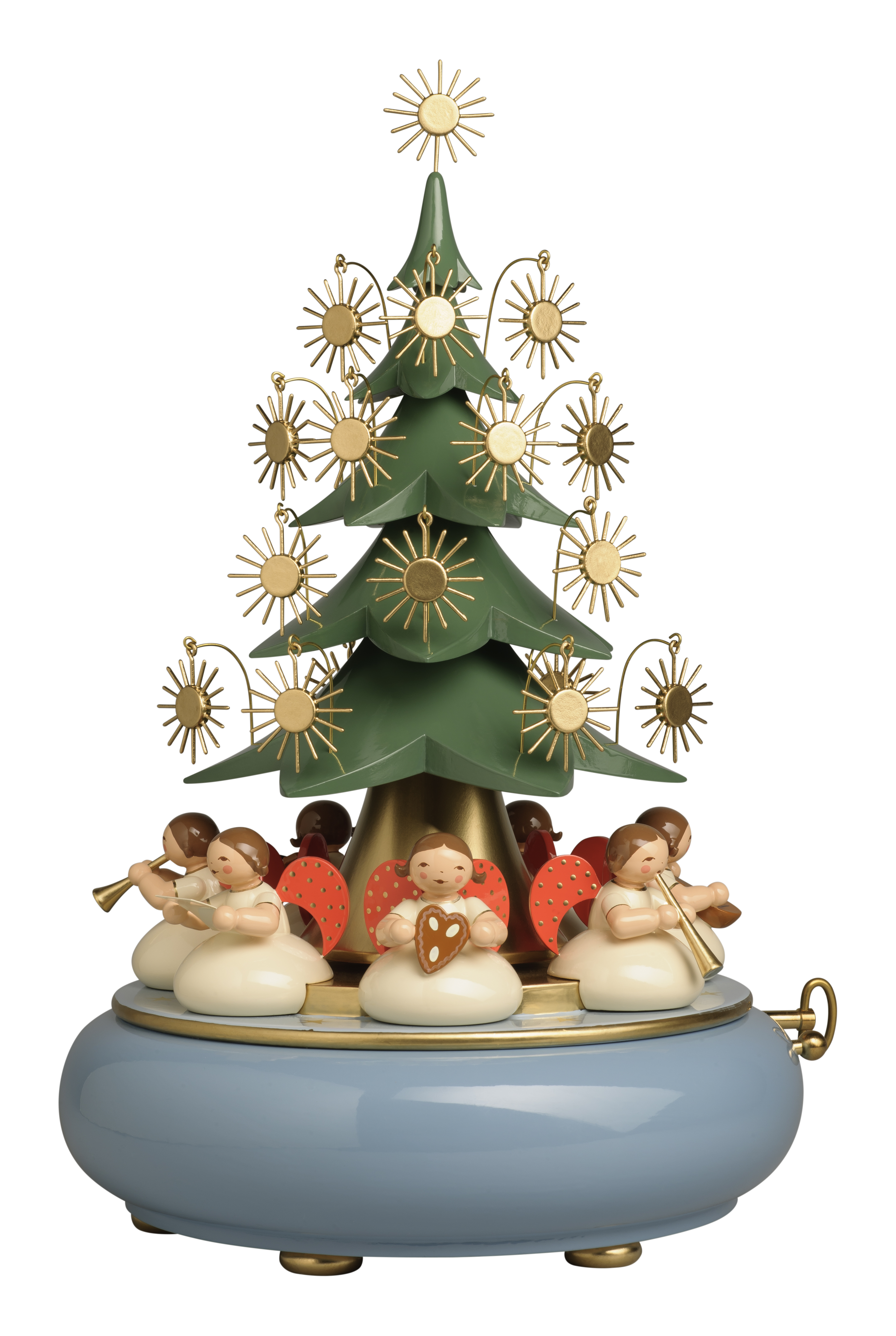 Music Box w/Angels Under Tree–SPECIAL ORDER ONLY Choice of 3 Melodies-36 Note Swiss Movement-11.75″