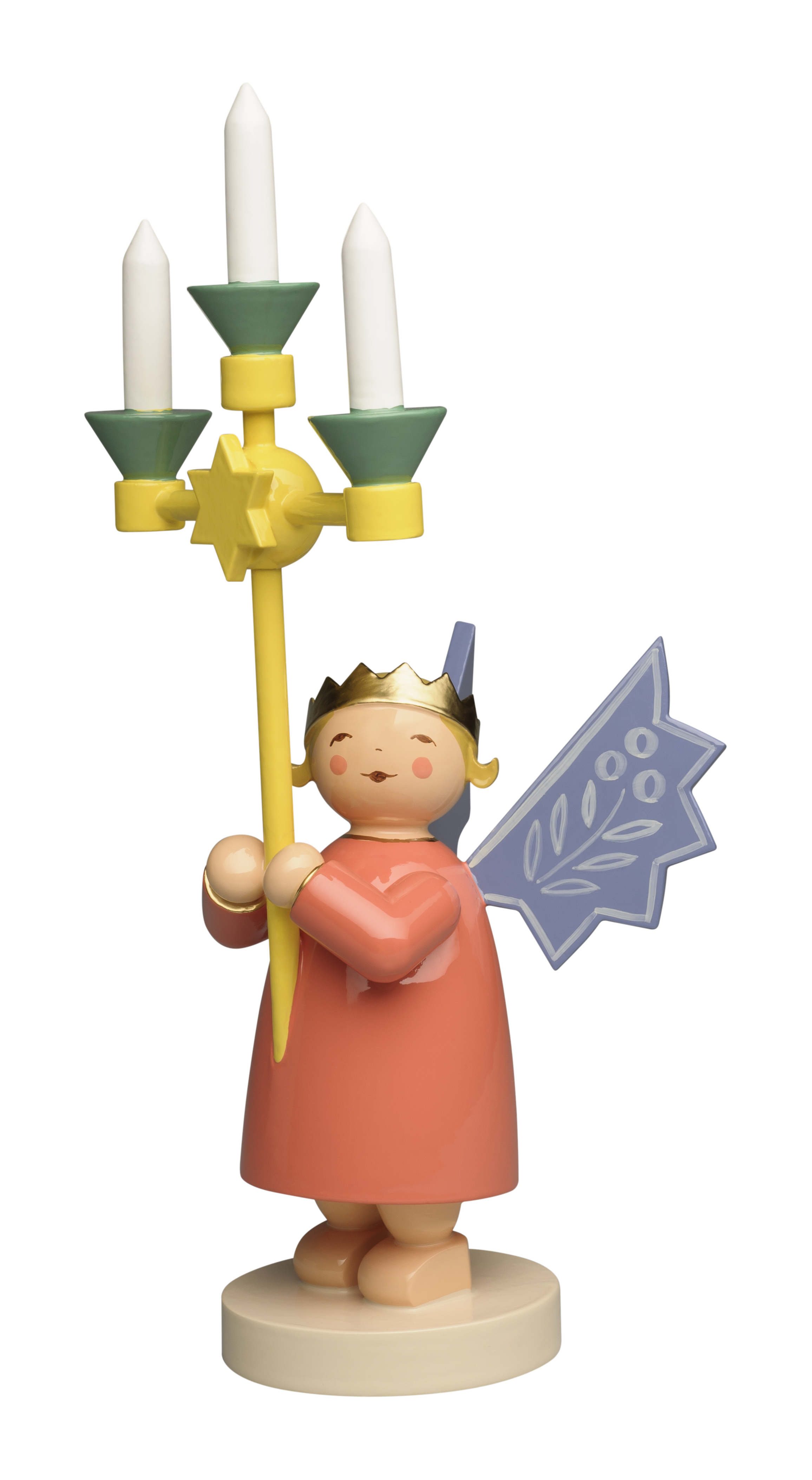 Angel Wearing Crown, with Candelabra – 6.75″ Total Height