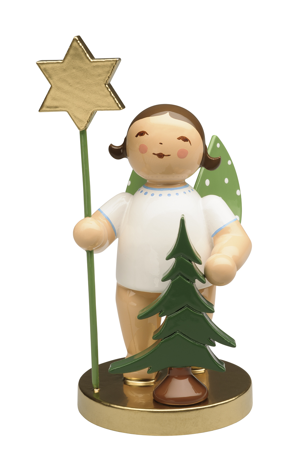 105th Anniversary Angel w/Spruce & Star–ONLY this yr.–Brunette-3.0″