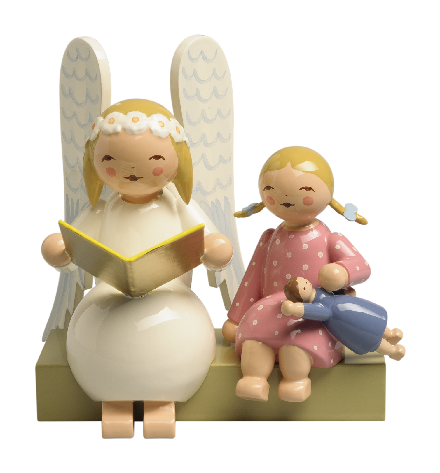 Larger Snowflake Angel on Bench, with Girl – 3.0″