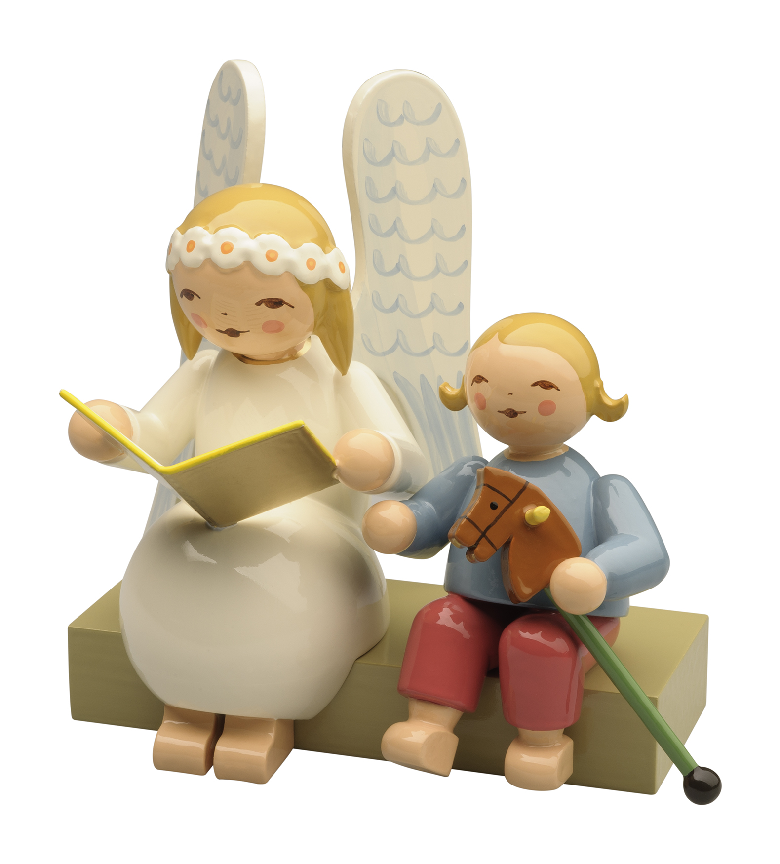 Larger Snowflake Angel on Bench, with Boy – 3.0″